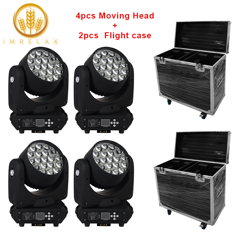 IMRELAX Excellent Effect 4pcs 19 15W Osram RGBW 4in1 LED Moving Head Light With Flight Case