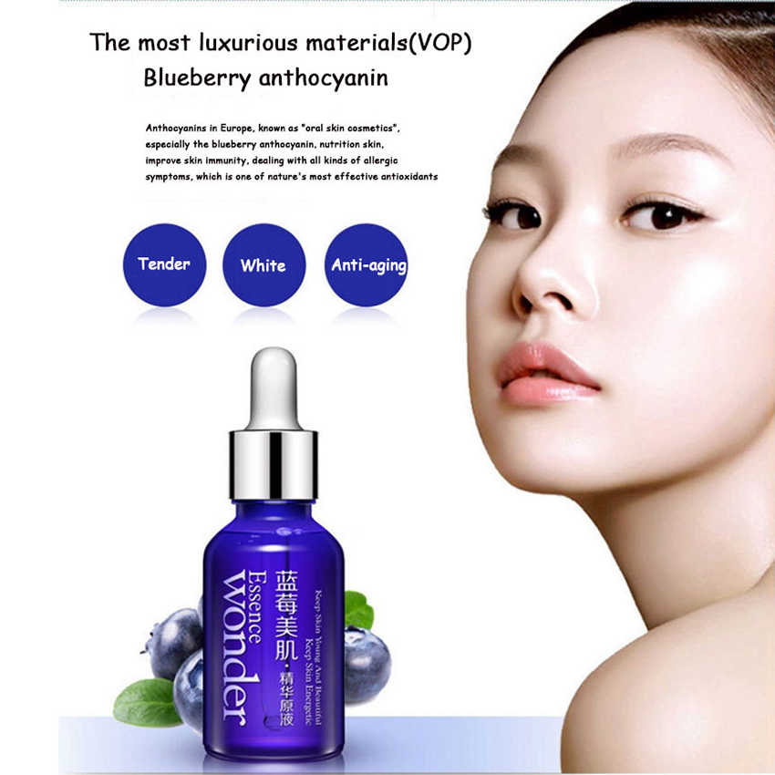BIOAQUA Face Care Essence Blueberry Hyaluronic Acid Liquid Anti Aging  Natural Plant Antioxidant Whitening Moisturizing 15ml