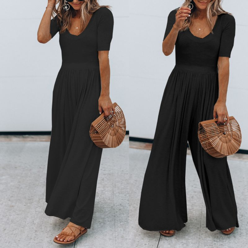 2019 Women Vintage Short Sleeve Jumpsuit Wide Leg Solid Overall Jumpsuits Romper