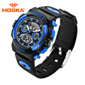 Children Brand HOSKA Kids Sports Watch Outdoor Waterproof Alarm Chronograph Luminous LED Digital Analog Dual Display Wristwatch