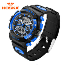Children Brand HOSKA Kids Sports Watch Outdoor Waterproof Alarm Chronograph Luminous LED Digital Analog Wristwatch