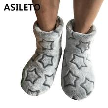 ASILETO 2018 New Winter Shoes Warm Plush Slippers Cotton Super Soft Home Shoes Indoor Christmas Women Slippers 6 Colors botas541