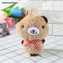 HANDANWEIRAN 1Pcs Hot 9CM Lovely Stuffed Plush Animals Toys Kawaii Curly Bear Pendants Plush Toy Dolls Kid's Present PP Cotton