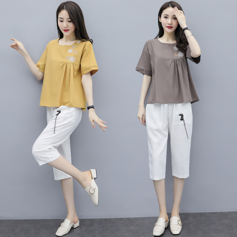 M-3xl Summer Cotton Linen Two Piece Sets Outfits Women Plus Size Embroidery Tops And Cropped Pants Suits Vintage Casual Sets 43
