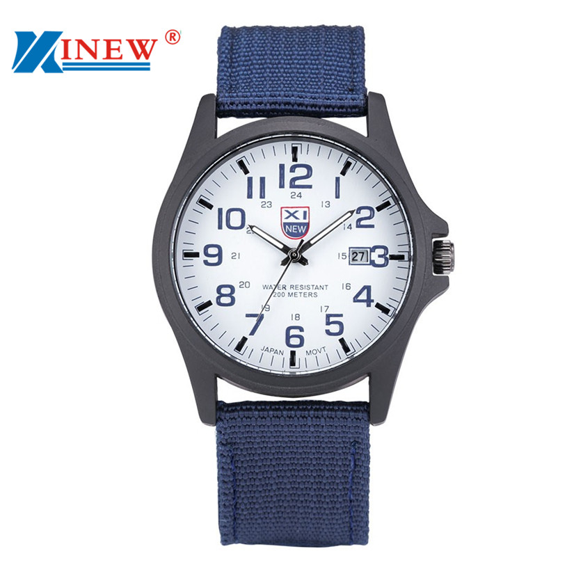 XINEW 2016 Nueva Outdoor Mens Watch Date Stainless Steel Military Sports Analog Quartz Army Wrist Man Watch Montre Homme Relojes fashion sport outdoor men s date quartz analog wristwatch military sports nylon strap unisex army style watch homme relojo p15