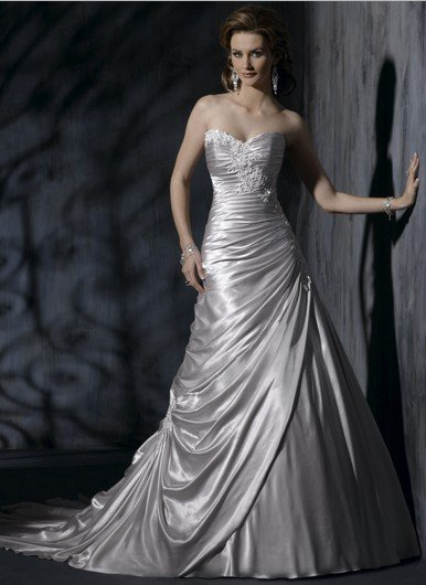 Popular silver wedding gowns buy cheap silver wedding for Silver wedding dresses for sale