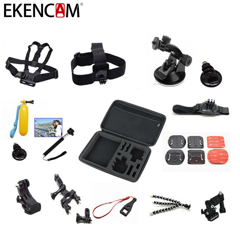 EKENCAM Accessories head Strap chest strap tripod mount 13 in 1 for GoPro Hero 5 4 3 SJCAM SJ4000 Xiaomi Yi 4K h9 Action Camera