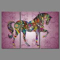 Arte abstrata impresso 3 pcs Animal crianças kids room Decoração colorida cavalo Da Lona Pintura de parede pictures home decor unframed