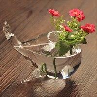 Стекло ваза украшения прозрачной стеклянной вазе мини воды цветочный горшок творческий Симпатичные Дельфин
