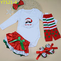 Santa Claus baby long sleeve bodysuits bloomers leg warmer toddler shoes hairband 5 pcs set christmas clothing for infants girls