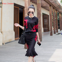 Fairy Dreams 2 Piece Set Women Autumn Sweater Suits Knitting Cardigan And Skirts Kits 2017 New