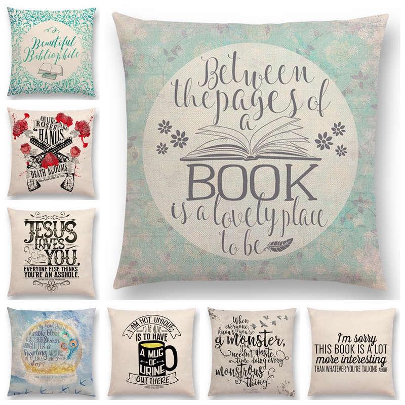 venta caliente feliz das de buen tiempo leyendo libros hermosa vida palabras hermosas letras decorativas bonito sof fundas de