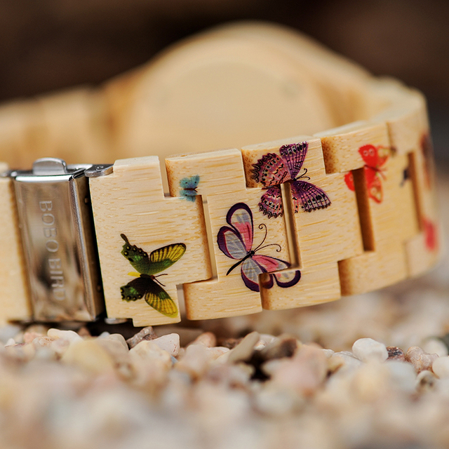 Reloj madera mariposas con caja de madera 2