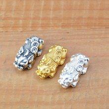100% 3d 999 серебряные бусины fengshui pixiu из чистого серебра