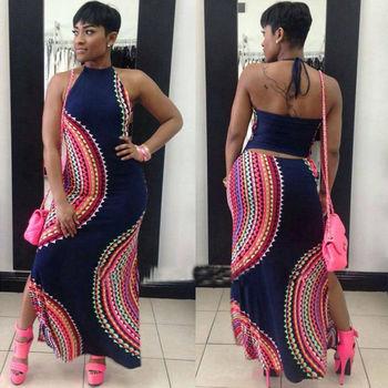 New Fashion Women Halter Dress Sleeveless Female Party Dress Ladies Printing Boho Maxi Long Dress Evening Party Dress Plus Size 3