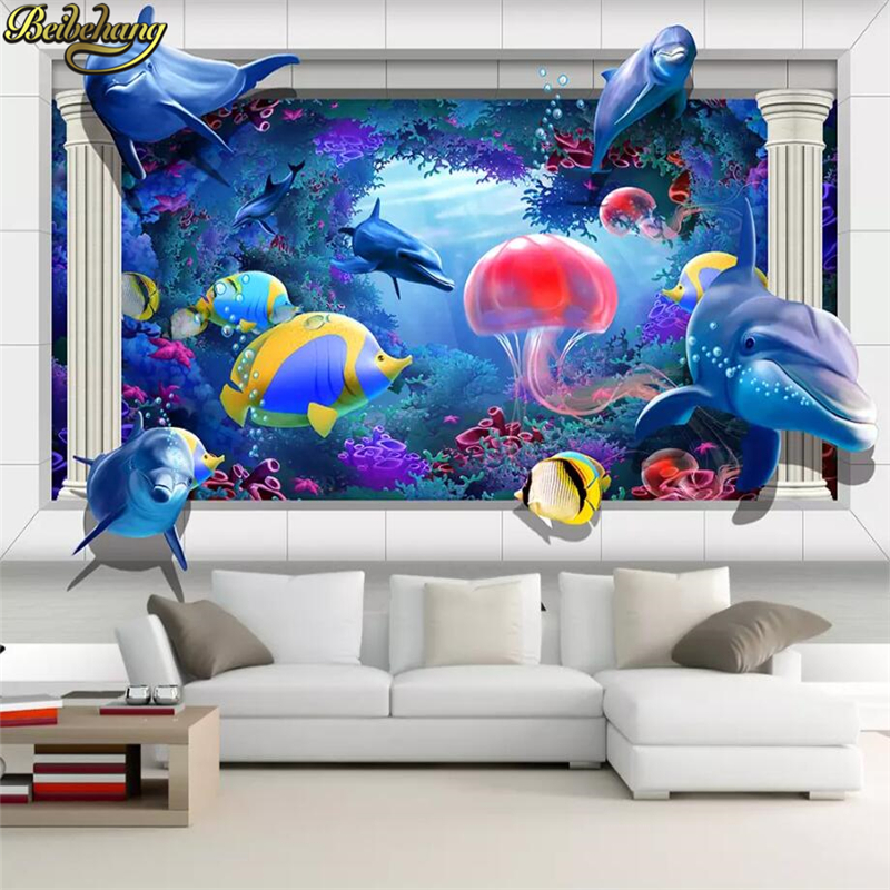 beibehang Custom Ocean World Jellyfish Dolphin 3d flooring
