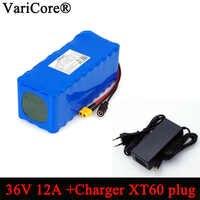 VariCore 36V 12Ah 18650 Paquete de batería de iones de litio equilibrio coche motocicleta coche eléctrico bicicleta Scooter con cargador BMS + 42v 2A