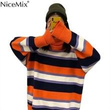 NiceMix Spring Harajuku Stripe Sweater Women Casual Pullovers Autumn Turtleneck Jumpers Korean Streetwear Pull Hiver Femme 2019