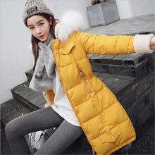 2016 New Winter Women Thicken Cotton padded Jacket Coat Hooded Fur collar Medium long Big yards