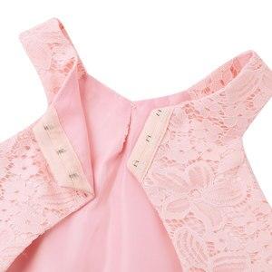 Image 5 - ילדים בנות ילדי שיפון פרחוני תחרה מגזרת חזרה פרח בנות שמלת נסיכת תחרות מסיבת יום הולדת אירוע רשמי שמלה