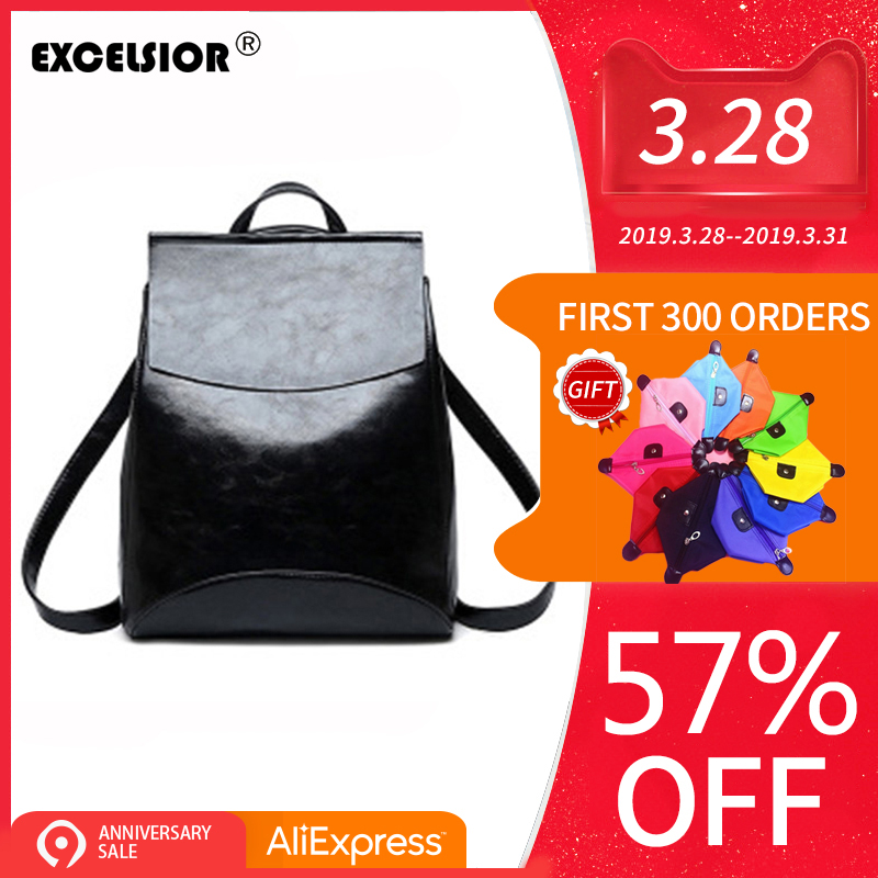 EXCELSIOR Fashion PU Leather Women s Backpack Simple Vintage School Bags Large Capacity Casual Female Backpack