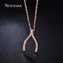 NEWBARK Vintage Wishbone V Shaped Necklaces Pendants Rose Gold Plated Necklace Women Micro Paved CZ Diamond-Jewelry Gifts