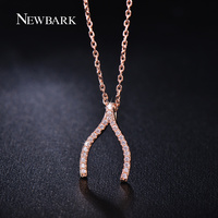 ZOEVON Special Design Partridge Wishbone V Shape Pendant Necklaces Micro Pave AAA CZ Diamond