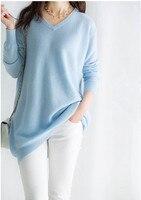 Козья кашемировая Женская мода Длинный пуловер свитер платье v образный вырез небесно голубой 7 цветов XS 2XL опт розница