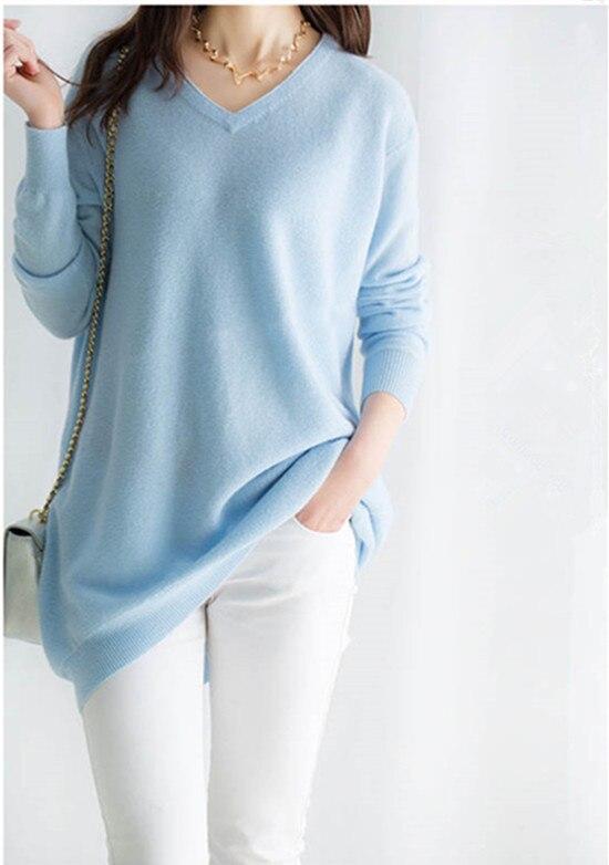 100% козья кашемир Женская мода Длинный пуловер свитер платье с v образным вырезом Небесно голубой 7 цветов XS 2XL оптом и в розницу
