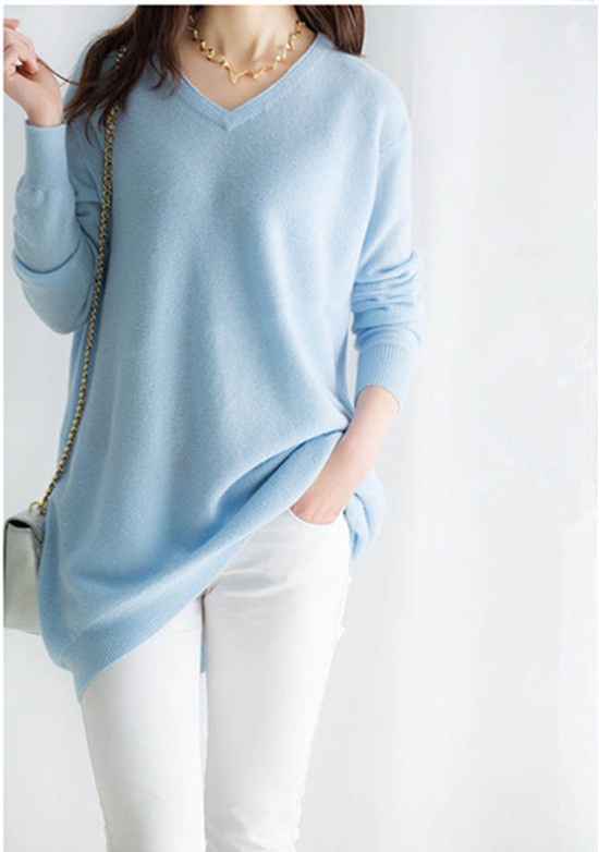 100% козья кашемир Женская мода Длинный пуловер свитер платье v образным вырезом цвет небесно синий 7 видов цветов XS 2XL в розницу и оптом