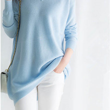 goat cashmere women's fashion long pullover sweater dress V-