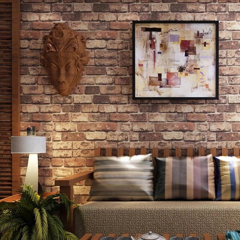 papier peint exfoliant lavable en vinyle 3d avec pierre de brique rouge revetement mural en relief decoration de salon et de chambre a coucher
