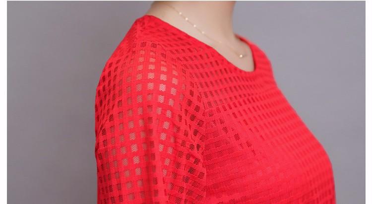 HTB1u0wqJpXXXXahXVXXq6xXFXXXs - 3/4 Sleeve Lace Blouse Hollow Out Women Summer Blouses Shirts