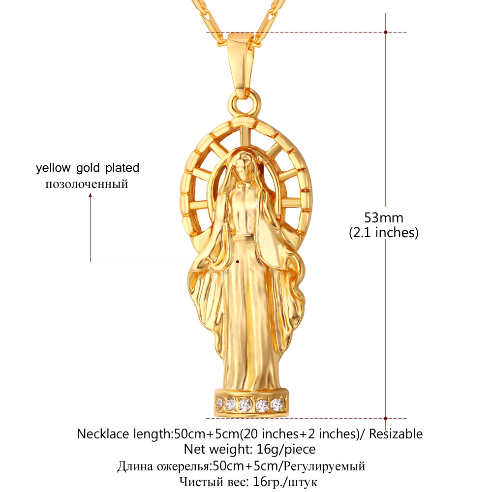 Collare Virgin Mary Pendant Religious GoldSilver Color Rhinestone