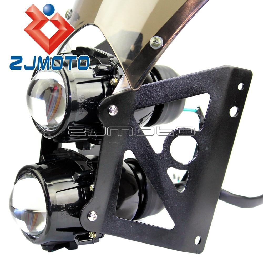 lowest price Motorcycle Wind Screen ABS Plastic Twin Headlight Black Bracket Motorcycle Streetfighter Projector Dual Sport Headlight