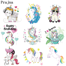 Prajna Unicorn Iron On Transfers Stickers For Clothes Cartoon Horse Thermal Transfer Paper Heat Clothing Patches F