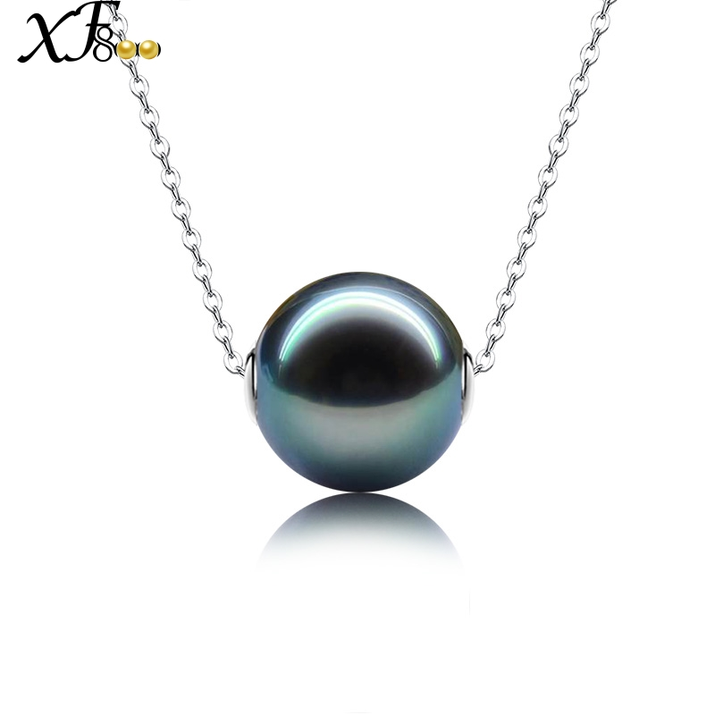 XF800 Natural Black Tahitian Pearl Jewelry Real 18k White Gold Necklace Pendant Christmas Party Gift For Women D236