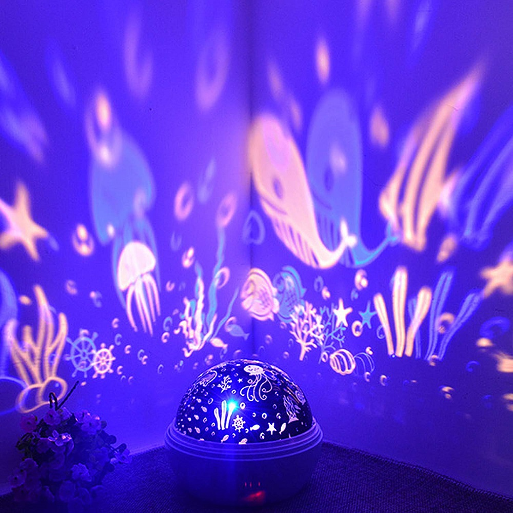 8 Colors Rotating Star Projector Night Light Luminaria Ocean Lamp Baby Night Sleeping Nursery Lamp For Baby Kids Christmas Gift