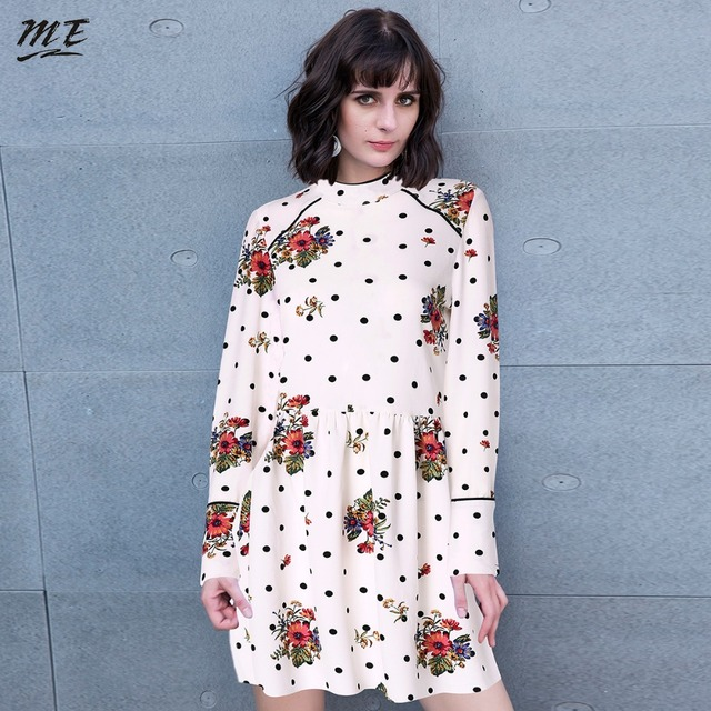 be6e508fd4427 ME Women Vintage Pleated Floral Dresses Long Sleeve Stand Collar Female  Retro Fashion Summer Mini Dresses Party Dress