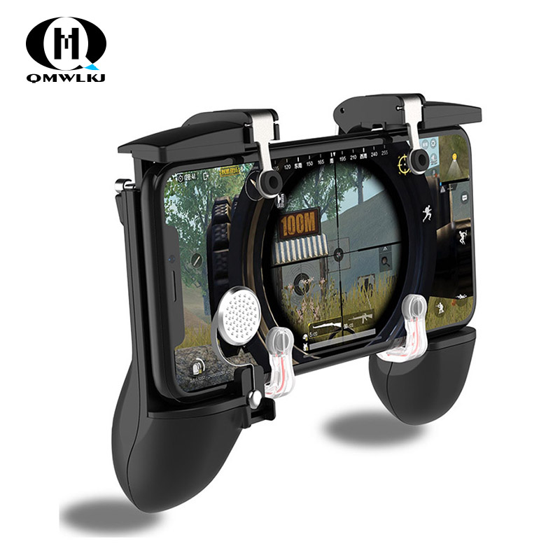 Six Finger Linkage PUBG Mobile Game Controller Gamepad Trigger Fire Button Aim Button L1 R1 Shooter Joystick For Iphone Android