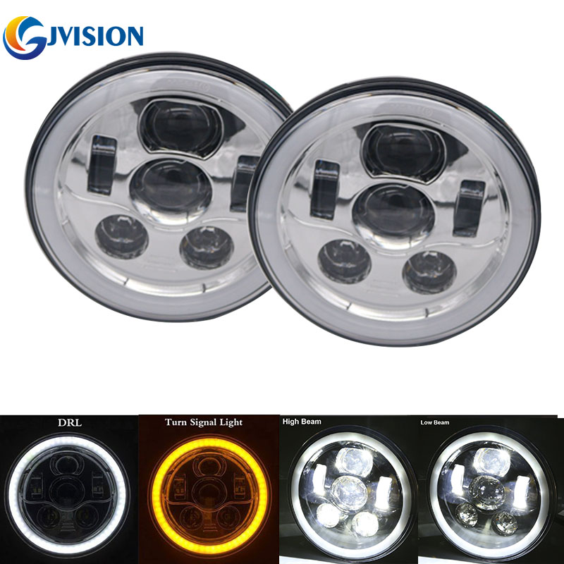 Newest 45W LED Headlight Kit for Jeep Wrangler JK CJ TJ Hummer 7 inch round led projector Driving headlamp DRL Angel eyes 7inch round front light beam 40w led driving light headlight with angel eyes for jeep wrangler jk hummer