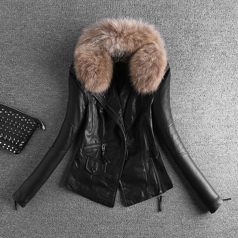 2018 Real   Leather   Jacket 2xl 3xl Ladies   Leather   Cotton Quilted Jacket Slim Collar Size Small Zippers And Covered Pocket Pu Coat