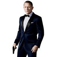 Navy Bule Hot Sale Two Buttons Notch Lapel Tuxedos Fashion Custume Made Men Suits JacketPantTie Latest