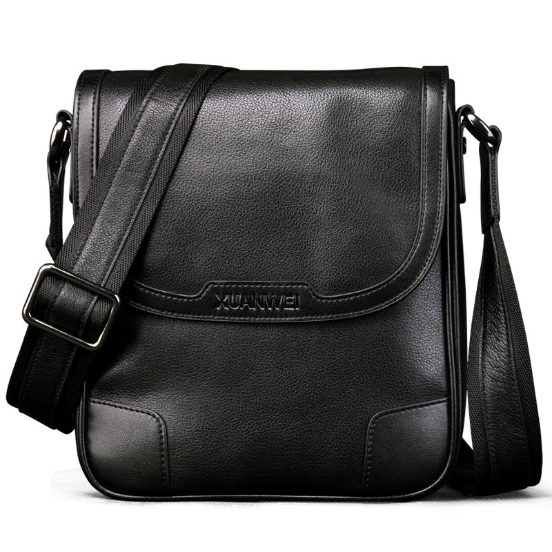 XuanWei Black Men Male Retro Full-grain Genuine Cattle Hide Messeanger bag Wear-resisting & Durable Business Briefcase (XW-8669)