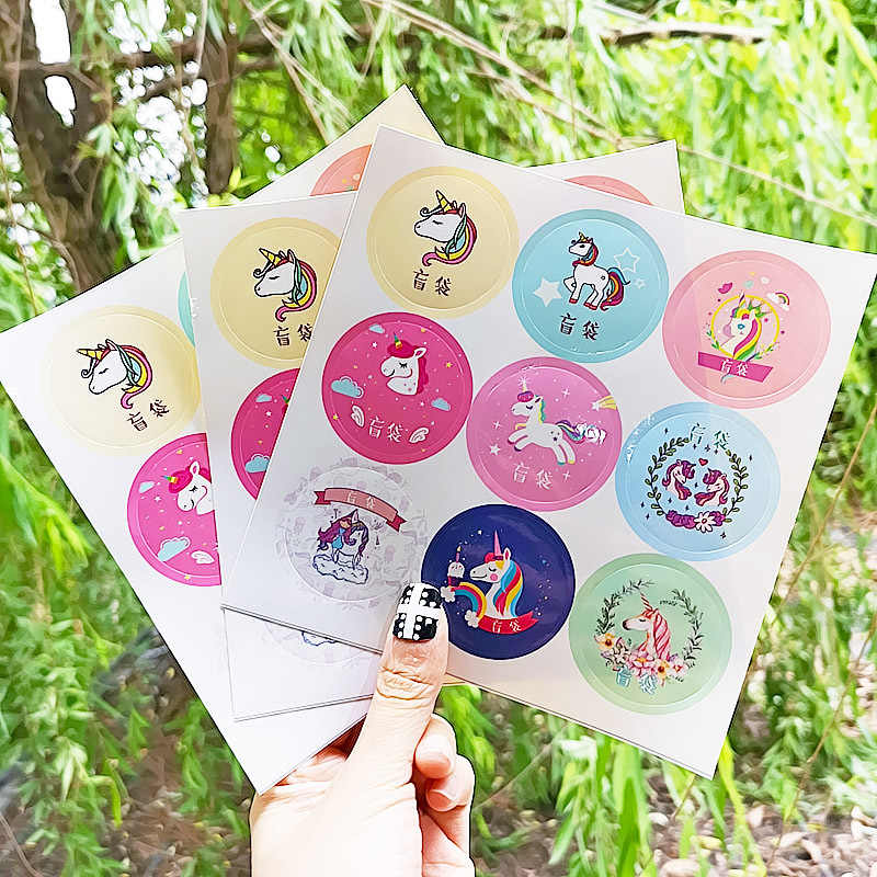 2 Pcs Unicorn Sticker for Container Box Slime Storage Box Sticker Ins