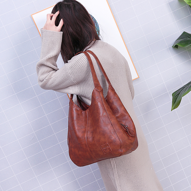 2019 Vintage Women Shoulder Bag Female Causal Totes Bags Large Capacity Luxury Designer High Quality Ladies Handbag Sac Femme 4