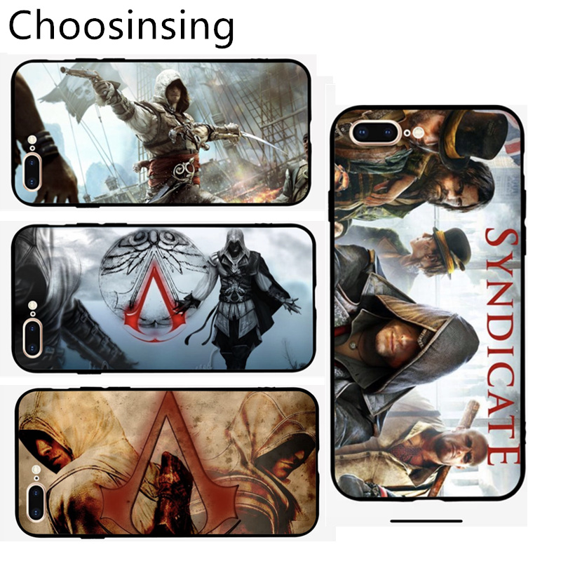 Assassins Creed Customized Tempered Glass Phone Case For iPhone 7 6 S plus 8 X XS XR MAX Hidden Blade Game Men Smartphone Cover image