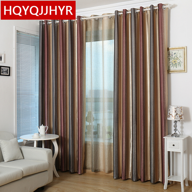 Luxurious Mediterranean Style Vertical Stripe Blackout Curtains For Living Room Hot Models High Grade