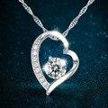 Plata 925 de plata collar de mujer corto párrafo collar pendiente cristalino del corazón