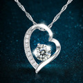 Silver 925 silver necklace female brief paragraph crystal heart pendant necklace